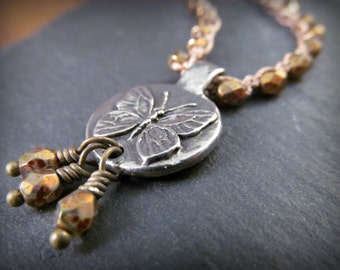 Nature Inspired Jewelry Beaded Butterfly Necklace - Warm bronze, Artisan Butterfly pendant, - Boho Rustic Cottage Chic