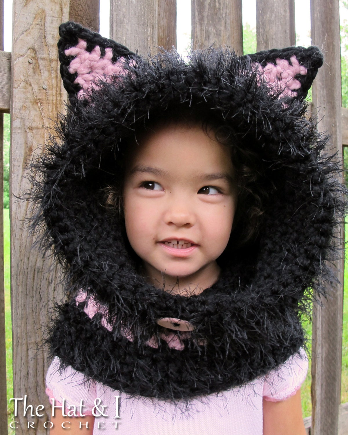 Free Crochet Childrens Hooded Cowl Pattern : CROCHET PATTERN The Cats Meow chunky crochet hooded