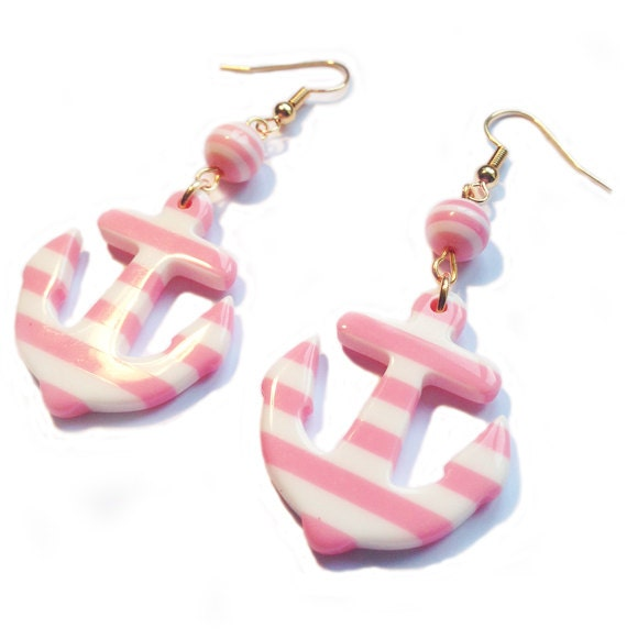Anchor Earrings Nautical Sailor Cute Pink and White or Blue and White