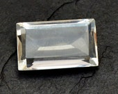 Rock Crystal Stone (27mm x 16mm x 10mm) - Baguette Crystal - Faceted Gemstone - Rectangle Cabochon - Natural Stone
