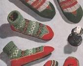 1950s Slipper Socks (All sizes) VINTAGE KNIT PATTERN, Nordic/Scandi/Folk/Cat Motif Sox/Boots/Room Shoes, Kids Slippers, Instant Pdf 0048
