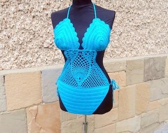 Crochet Turquoise Swimsuit, Crochet Pineapple Design Monokini,  Crochet Monokini,  Crochet Bikini, Crochet Suit, Pineapple Motif Swimsuit