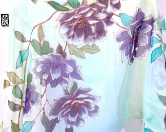 Hand Painted Silk Shawl, Mint Floral Scarf, Dreamy Purple Peonies Scarf, Mint Green Silk Chiffon, 22x90 inches. Made to order