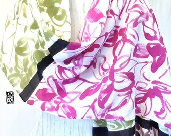 Hand Painted Silk Shawl, Colorblock Zen Tropical Orchids, Sage Green, Brown, Purple Pink. Silk Scarves Takuyo, Silk Crepe, 22x90 inches.