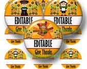 Thanksgiving, Editable, Bottle Cap Images, 1 Inch Circles, Digital Collage Sheet, 1 Inch Round Images, Fall, Bottle Caps (Give Thanks 1)