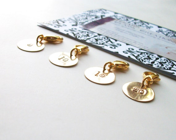 Removable Knit Stitch Markers. Row Marker.  Row Counter.  Knitters Gift Set of Four, Round, Brass.