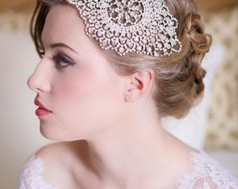 Silver Crystal Bridal Headpiece, Art Deco Crystal beaded head piece, Crystal Hair Piece Comb, Crystal Wedding Hair Accessories, STYLE 143a