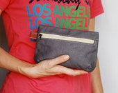 SALE 20% - Piggy Pouch in Waxed Grey - Zipper Pocket / Purse / Wallet / clutch / cosmetic bag / iphone case / travel / Women