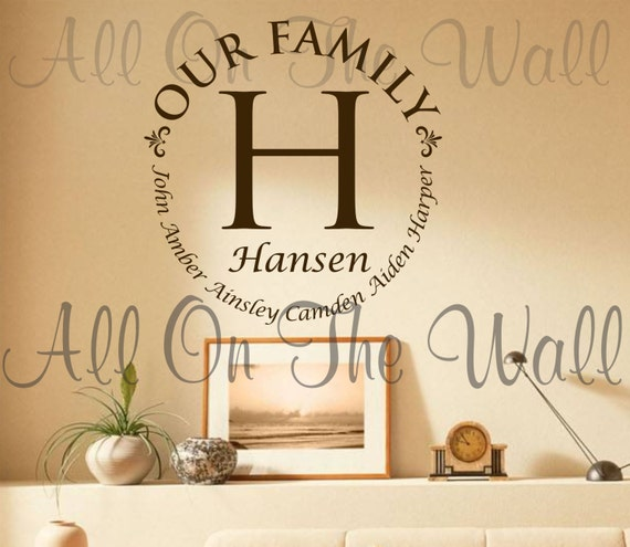 Vinyl Wall Decal Family Last Name Decals Custom Vinyl - Custom vinyl wall graphics