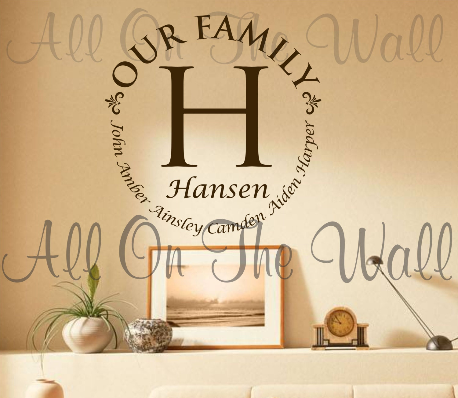 Vinyl wall decal family last name decals custom vinyl for Personalized home decor