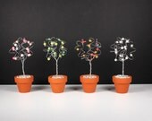Four Seasons Set of Four Wire Tree Pearl Topiaries  Art Sculptures Spring Summer Fall Winter