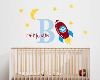 Space wall Decal - Rocket Name Wall Decal - Boys Nursery Space Art - Rocket Ship Decals - Space Stickers