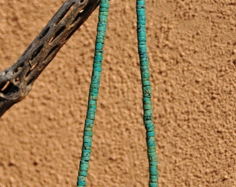 Turquoise Beads with Removable Vintage African Wodaabe Brass Bead and Camaroon Brass Bicone Beads.