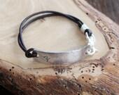 Personalized Medical Alert Bracelet - Fine Silver & Leather For Men or Women