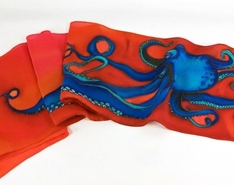 "Silk scarf handpainted. Octopus Silk Scarf. 8""x52"". Octopus scarf. Handpainted silk scarf~Hand painted silk scarf~Painted silk scarf"