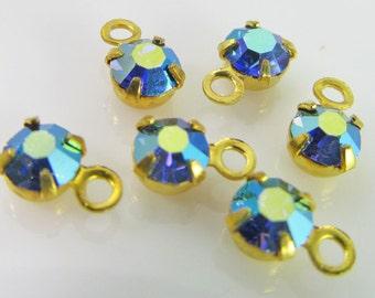 30 Vintage Swarovski Sapphire AB 17ss 4mm Crystal Drops Charms Cr47
