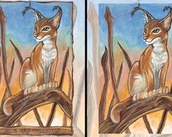 Caracal Print, Big Cat Art, Six of Wands Tarot Card, Wild Cat Decor, Sunset Poster, Sunrise Art, Animism Tarot Deck, Animal Illustration
