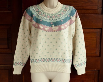 1980s Eddie Bauer Sweater - Womens chickens - S/P