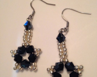 Handmade jewelry, beaded jewelry, handmade earrings with Bead woven Czech crystal bicones and galvanized silver seed beads