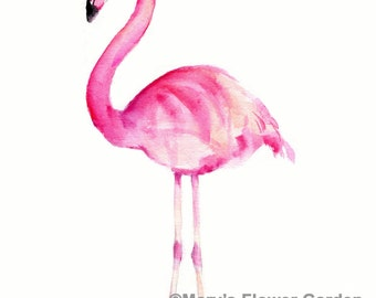 Flamingo art, flamingo watercolor, flamingo art print, pink flamingo, beach decor, flamingo decor, 8 X 10 flamingo, pink flamingo artwork