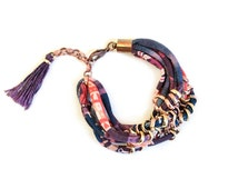 Tribal Pattern Fabric Bracelet, Woven Chain and Jersey, Folk Patterned Bordeaux, Blue and Red Jersey and Oldgold Chain