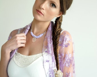 Bridal accessories plus size Lilac lace shrug (4-options- shrug, shawl, twisted shawl and a scarf)  gift for teen, fashion gift (DL300ps)