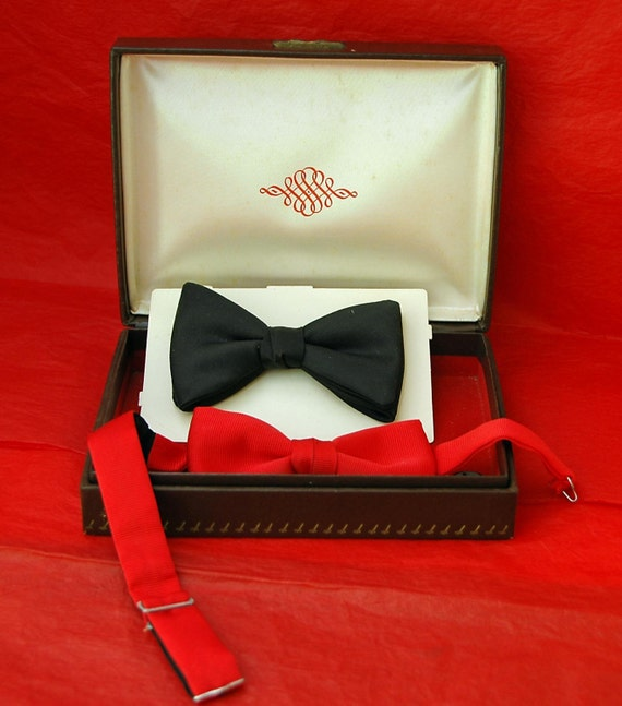 Reduced - VINTAGE Pr BOW TIES - Vintage - 1 Black Clip-On and 1 Red Adjustable, Excellent Condition Just In Time for The Prom or Holidays!