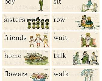 Vintage Style Storybook Flash Cards Printable Digital Collage Sheet JPG