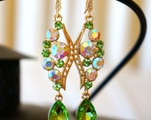 Lavished Peridot Green Golden Crystal Earrings - Wedding Jewelry - Chandelier Earrings - Bridal Earrings, Dangle Earrings