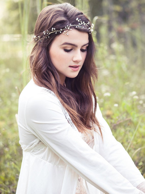 Wedding pearl and crystal headband, bridal hair vine, bohemian hair crown, gold hair circlet, bridal halo, hair jewelry - Amalie