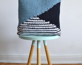 hand knitted cushion, blue / white / navy, striped pattern No.6