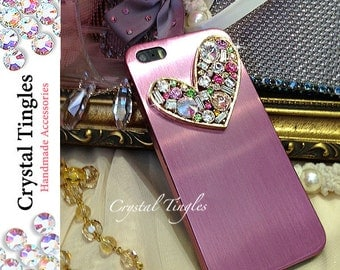 Beautiful Chic Colorful Full Sparkle Lovely Crystal Diamond Heart Gold Black Red Pink Silver Aluminum Metallic Cover Case For iPhone SE 5S