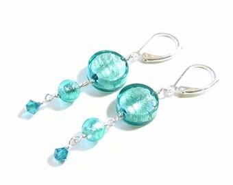 Murano Glass Sea Green Long Earrings, Dangle Earrings, Venetian Jewelry, Leverback Earrings, Italian Jewellery, Sea Foam Jewelry, Gift Idea