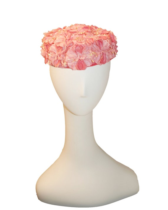60s Pillbox Hat Pink Floral Pearls