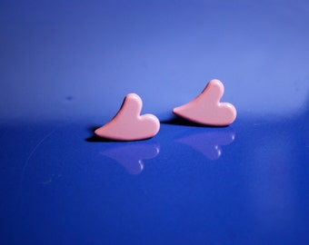 Pink Heart Earrings -- Studs, Pink Hearts, Silver