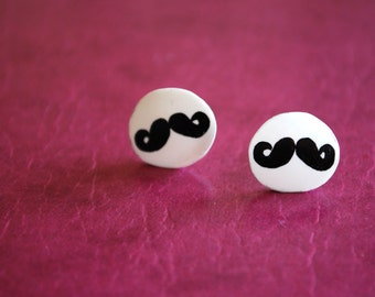 Mustache Studs -- Earrings, Black and White, Silver