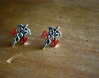 Nurse Caduceus Earrings -- Nurse Studs, RN Nurse Earrings, Red and Silver, RN Caduceus