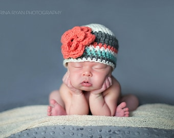 baby girl hat, newborn girl hat, crochet girls hat, girls hat, newborn girls hat, little girl hat, coral teal gray hat