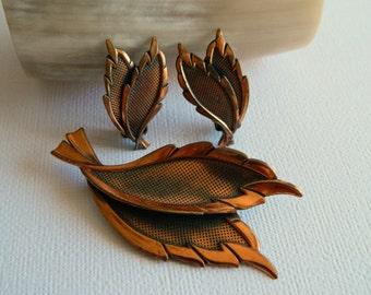 Lovely Stylized Copper Leaf Brooch & Clip On Earring Set- Artisan Handmade Demi Parure Rustic Nature Metallic Forest Earthy Garden