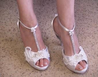 Ready to Ship Size 10 White Wedding Heels Marie Antoinette Modern Version,Satin Platform Peep Toe T-Strap High Heels, Bling, Great Gatsby