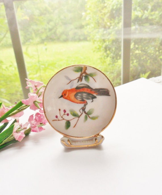 Tiny Bird Plate on Stand, Miniature Bird Dish in Holder, Hand Painted Asian Bird