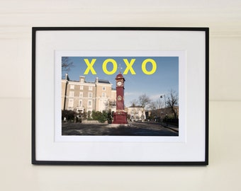 Rustic Red, Clock Tower, Bright Colors, Sunny Day, Yellow, XOXO Print, Typography Art, Color Photography, Fine Art Photography, Teen Gift