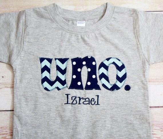 UNO Shirt For Boy's 1st Birthday Aqua And Navy Blue