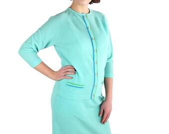 60s 70s Talbott Traveler Suit Mad Men Blue Knit Dress Cardigan Skirt