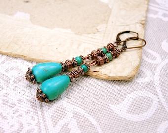 Copper Turquoises Earrings - Birthstone Earrings
