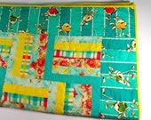 Patchwork Quilt, Twin Size Quilt, Flannel Quilt, Aqua, Yellow, April Showers