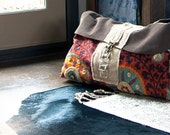 The Inez Weekender, Large Travel Bag, Suede Leather Sunset Travel Bag, Yoga Bag, Boho Travel Bag, Yoga Mat Bag, Large Diaper bag