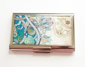 Business Card Case, Card case, Paisley case, teal paisley, business card holder, Card case for her, teal case (3856)