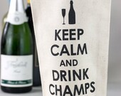 Wine Tote - Recycled Cotton Canvas - Keep Calm & Drink Champs, Black