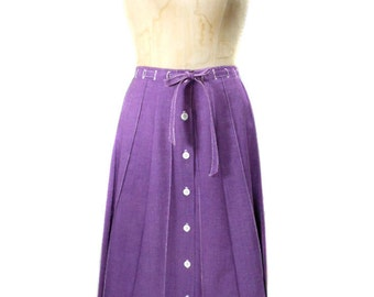 vintage 1970s purple button front skirt / Copley Square Ltd. / belted / cotton / lightweight spring summer / women's vintage skirt / size 6